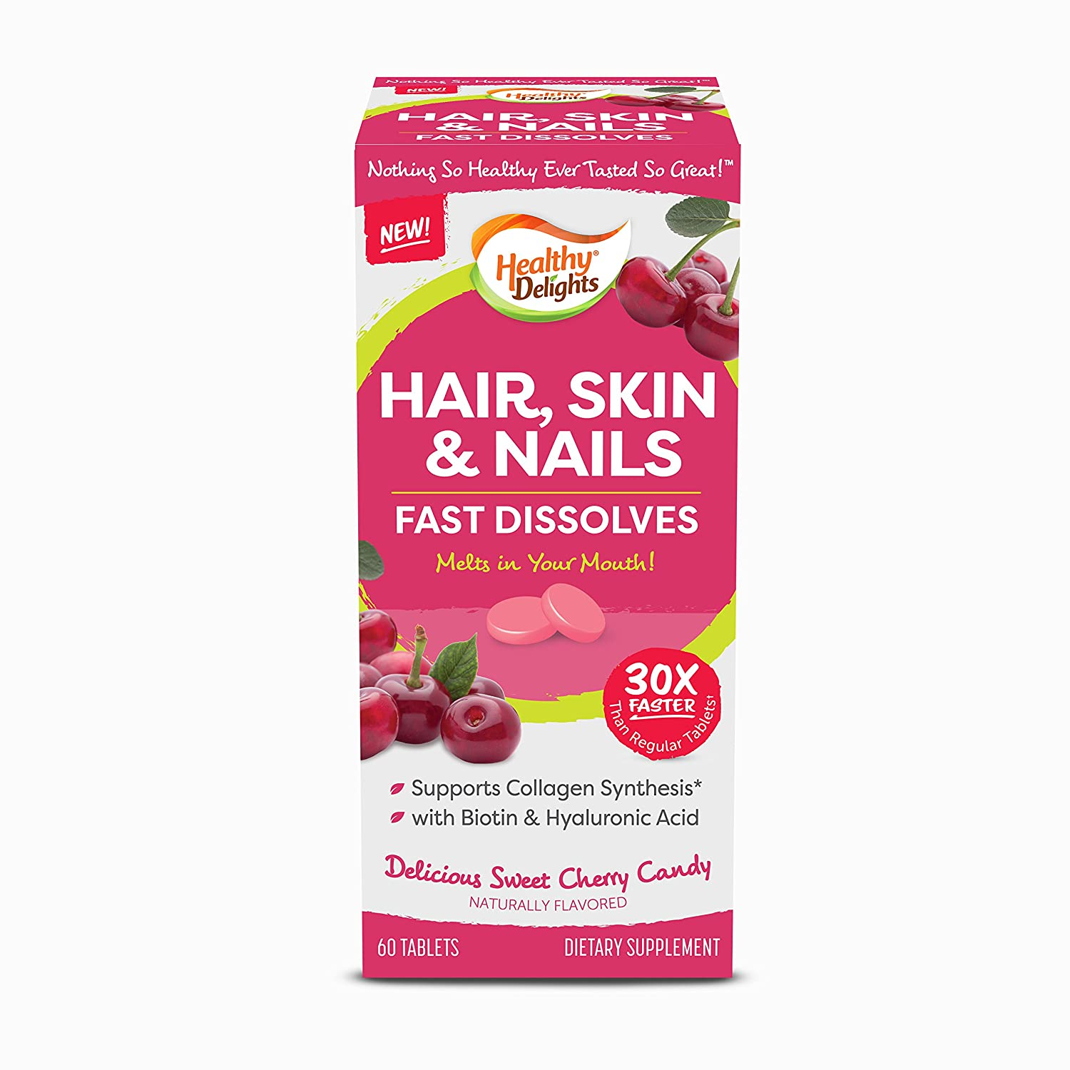 Amazon.com: Healthy Delights, Hair, Skin & Nails, Cheery Flavor Fast Dissolves, Naturally Flavored, Supporting Collagen Synthesis, Packed with Biotin ...