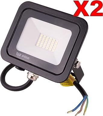 POPP® Foco Proyector LED 20W para uso Exterior Iluminación Decoración 6000K luz fria Impermeable IP65 Negro y Resistente al agua.PACK x2 (20): Amazon.es: Iluminación