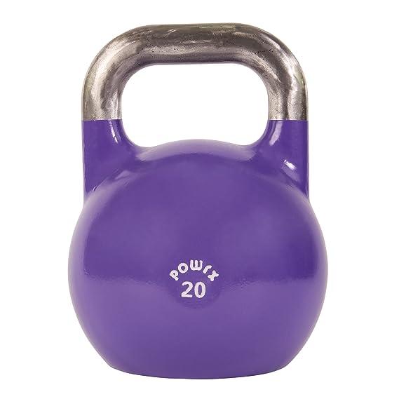 POWRX Kettlebell Pesa Rusa Competición 4-28 kg + PDF Workout (20 kg): Amazon.es: Deportes y aire libre