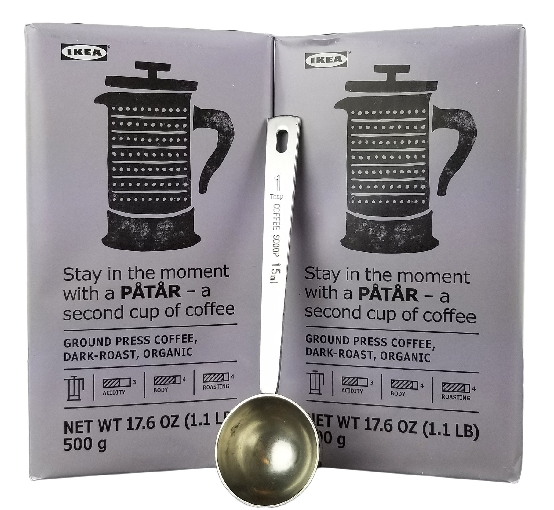 IKEA FINE Ground Press Coffee, Dark Roast Bulk Bundle - 100% Organic Arabica Coffee - 17.6 Oz Each (Pack of 2 - Total 35.2 oz) With Stainless Steel Measuring Coffee Spoon Greek Turkish French Press
