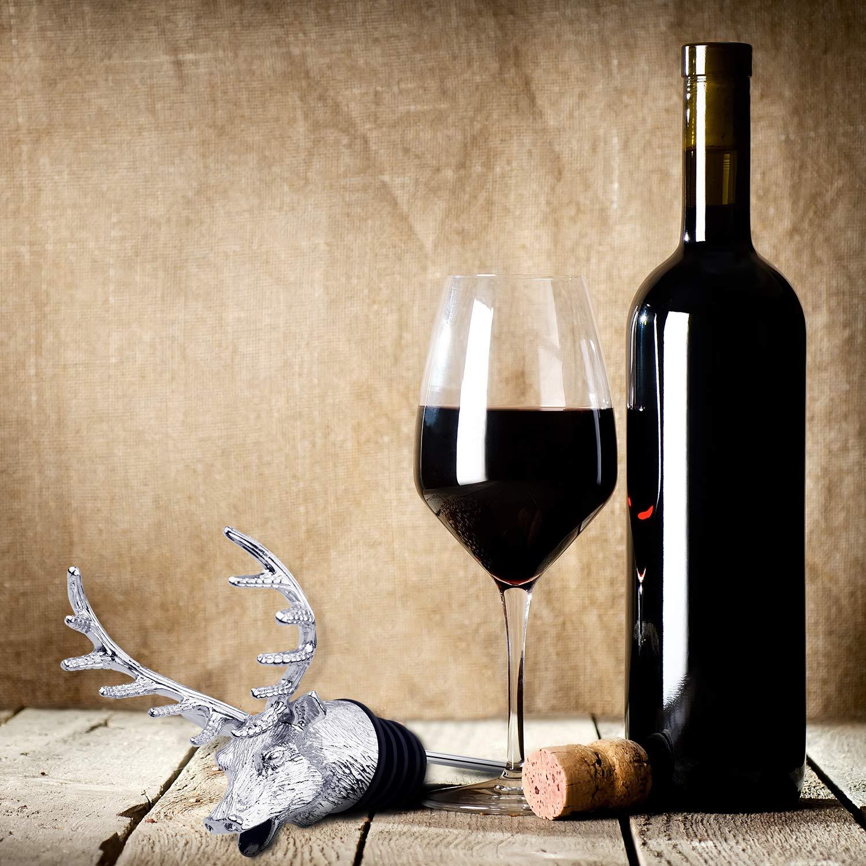 Blulu 2 Pezzi Testa di Cervo Vino Versato Argenteo Animale Vino Versatore Aeratori