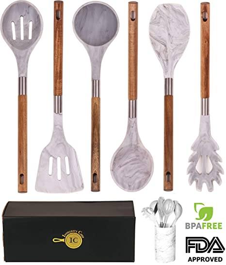 BRAND NEW! Marble Silicone Kitchen Utensil Set by Integrity Chef with  Utensil Holder - Gorgeous Kitchen Utensils Cookware Set With Premium Acacia  Wood ...