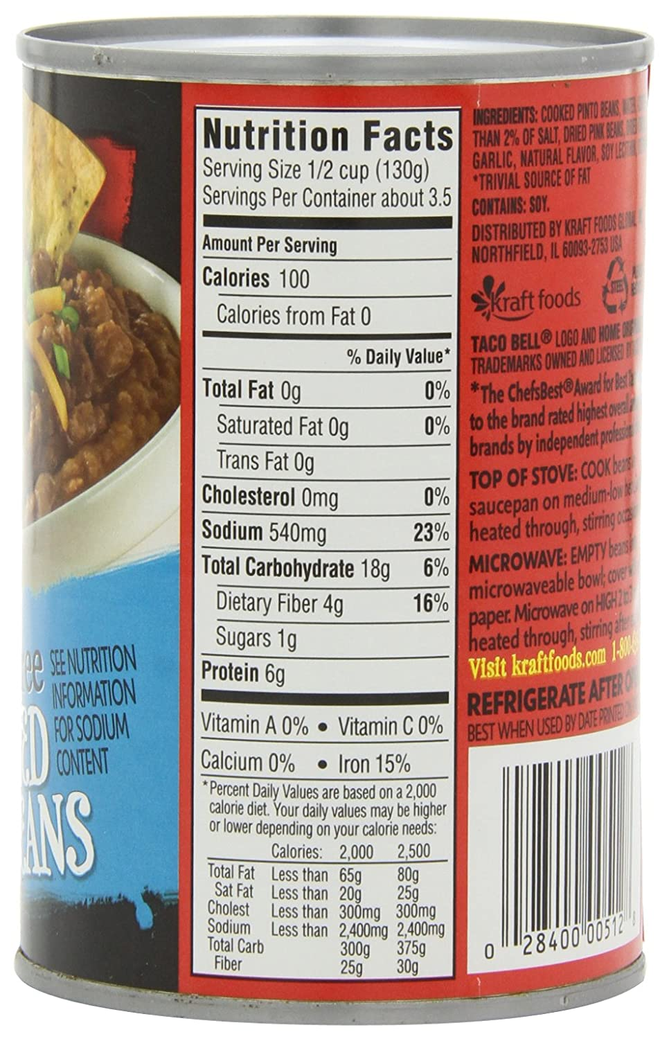 Taco Bell Fat Free Refried Beans, 16-Ounce Cans (Pack of 12)
