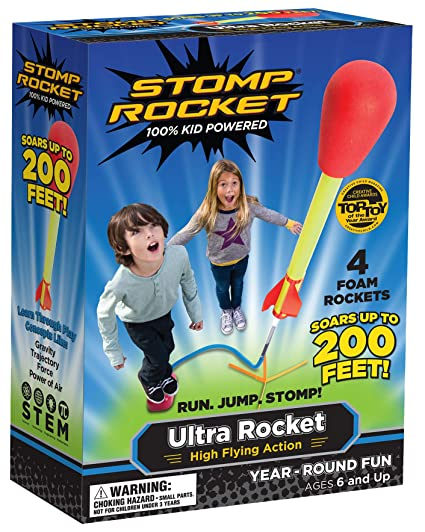 Stomp Rocket Ultra Rocket, 4 Rockets - Outdoor Rocket Toy Gift for Boys and Girls - Comes with Toy Rocket Launcher - Ages 6 Years and Up