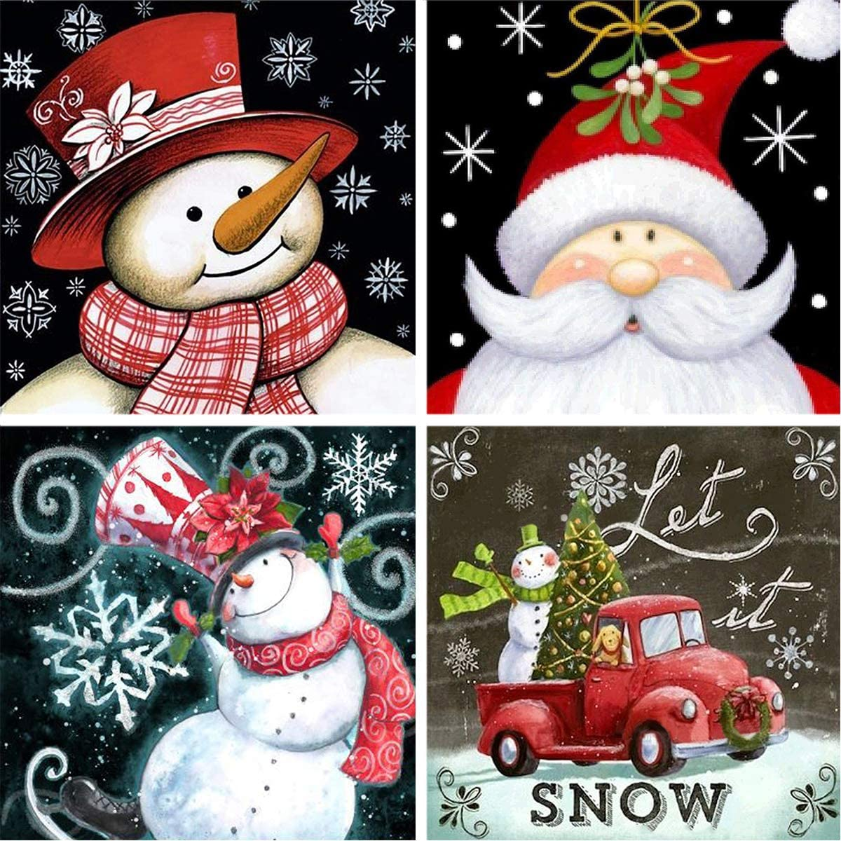 BeAhity 4 Pack Christmas DIY Diamond Painting by Number Kit,Full Drill Xmas Rhinestone Cross Stitch Painting Decor Pictures Craft for Christmas Holiday Home Decoration,9.8x9.8 Inches
