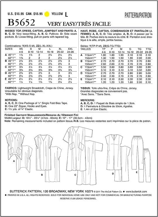 TOP JUMPSUIT /& PANTS BUTTERICK SEWING PATTERN 5652 MISSES SZ 4-14 DRESS CAFTAN