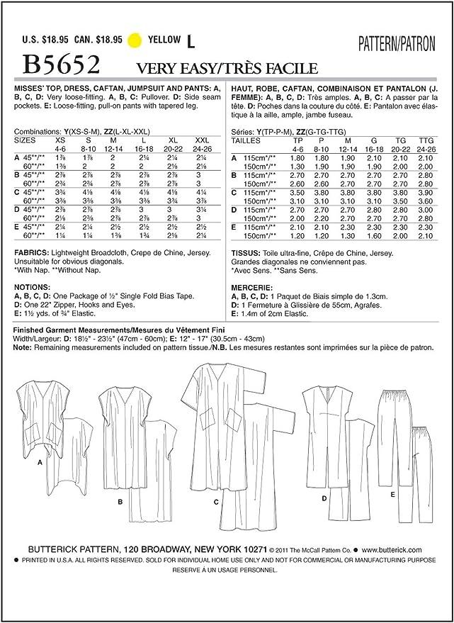 Plage Robes 32-50 Motifs de coupe BUTTERICK 6683 continue Caftan damentunikas