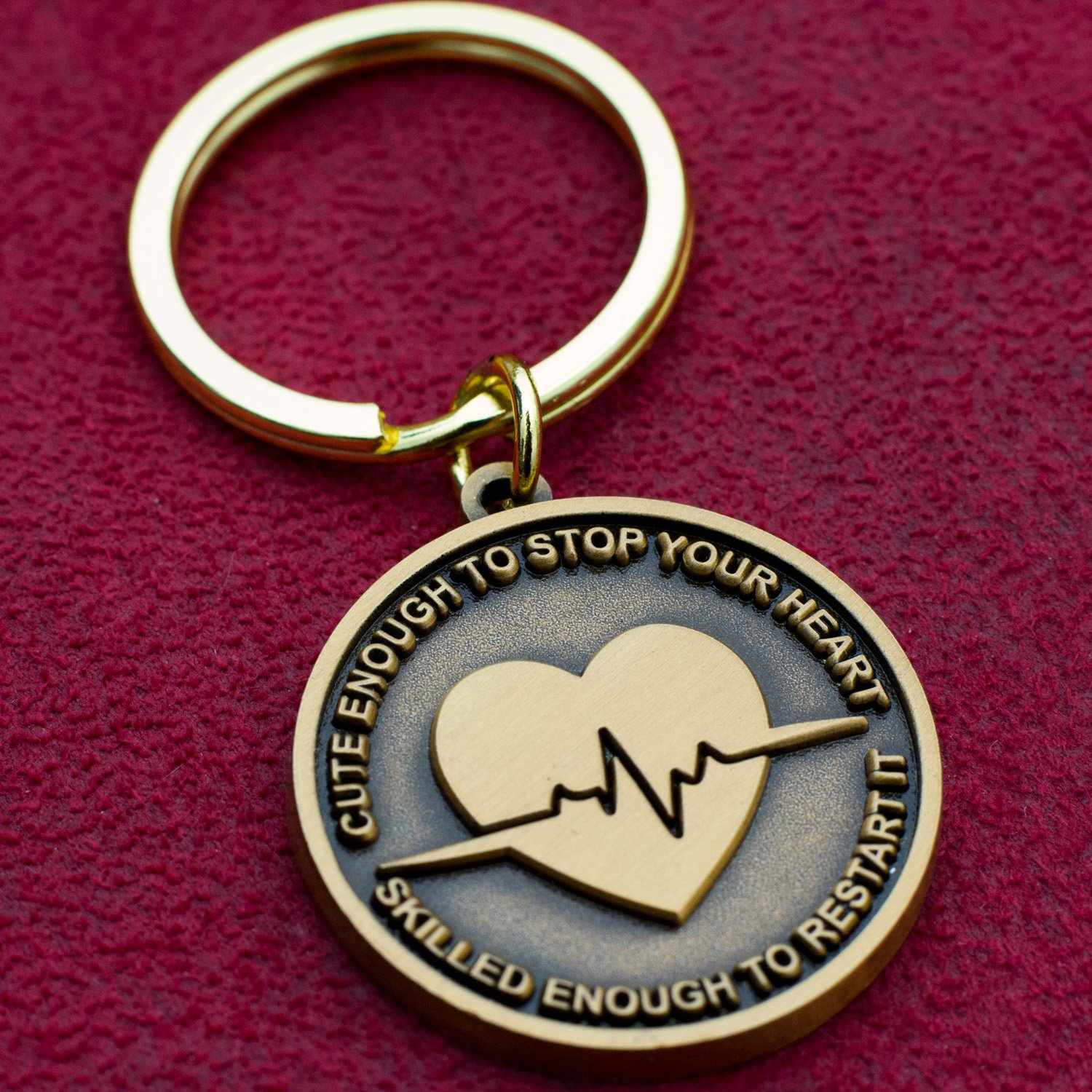 Nurse Gift Idea - ''Cute Enough To Stop Your Heart, Skilled Enough To Restart It'' Keychain by Nurse Gifts (Image #3)
