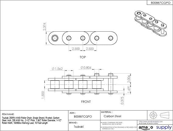 1//2 Pitch 10 Length Senqcia Inspire Series 41RB Riveted ASME//ANSI Standard Roller Chain Pack of 10 Single Strand