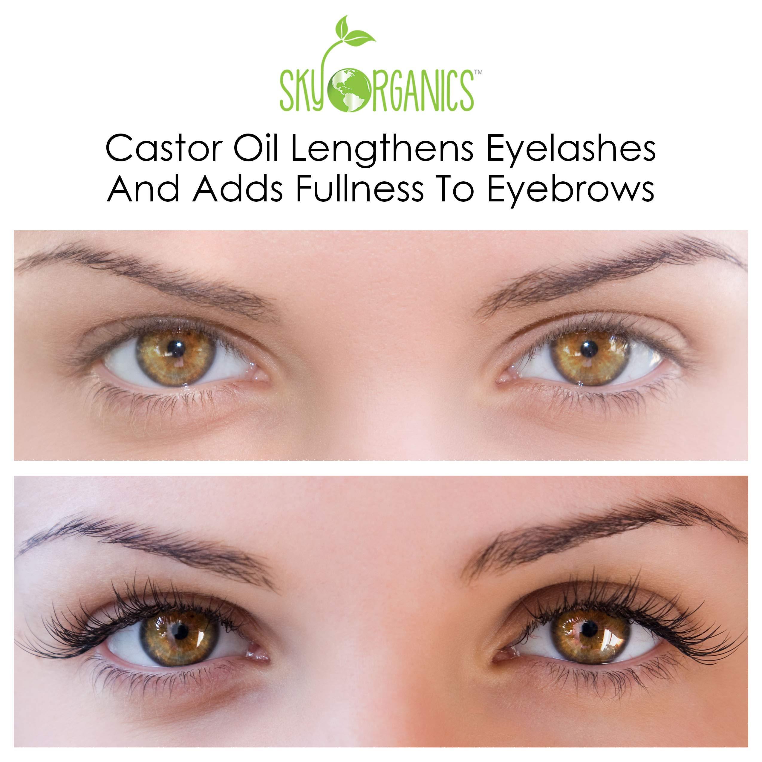 Castor Oil (16oz) USDA Organic Cold-Pressed, 100% Pure, Hexane-Free Castor Oil - Moisturizing & Healing, For Dry Skin, Hair Growth - For Skin, Hair Care, Eyelashes - Caster Oil By Sky Organics by Sky Organics (Image #4)