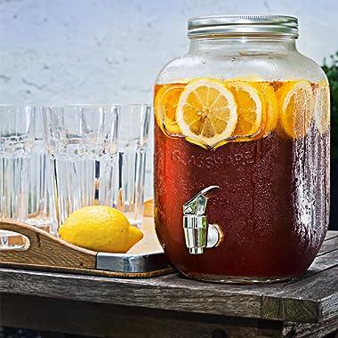 Mason Jar Glass Beverage Dispenser with Metal Lid, 1 Gallon