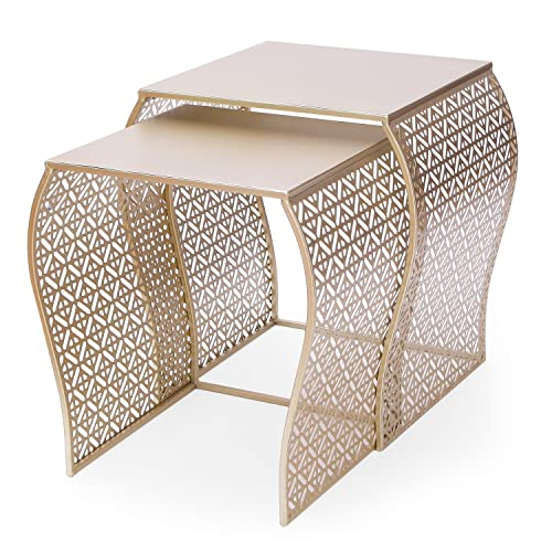 ELEGAN Luxury Classic Metal Accent Nesting Side End Table Set of 2 Golden Curved