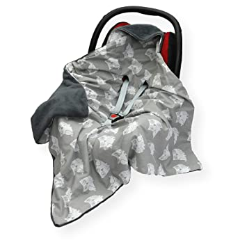 Cover CAR SEAT Blanket FOOTMUFF Double COSYTOES SM Star - Pink//Grey Sided 100 x 100cm Hooded Blanket with SEAT Belt Holes