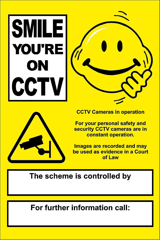 KPCM Display - Cartel de aviso de cámara de seguridad en funcionamiento, diseño con texto en inglés (compuesto de aluminio de 3 mm, 400 x 300 mm): ...