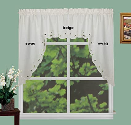 Amazon Com Creative Linens Lace Cutwork Kitchen Curtain Valance