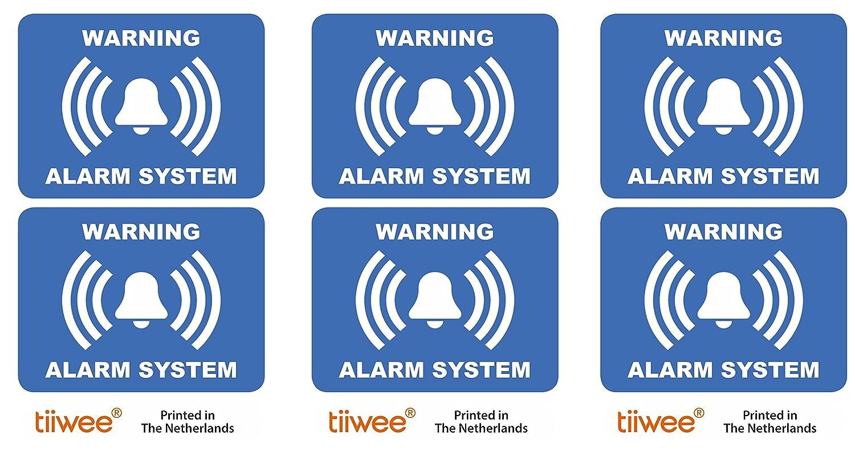 Tiiwee Etiquetas de Alarma de Seguridad para el Hogar - Azul - Doble protección UV - Extra laminadas - tamaño 60mm x 45mm - Exterior - Set de 6 ...