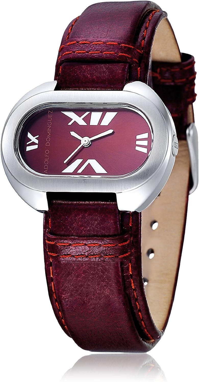Adolfo Dominguez Watches 69003 - Reloj de Señora Cuarzo Correa de Piel Granate: Amazon.es: Relojes