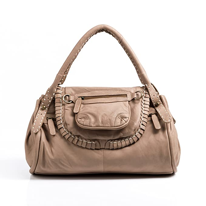 1644eb5cbdd5 BACCINI tote bag GISELE handbag - handbag genuine camel-beige leather