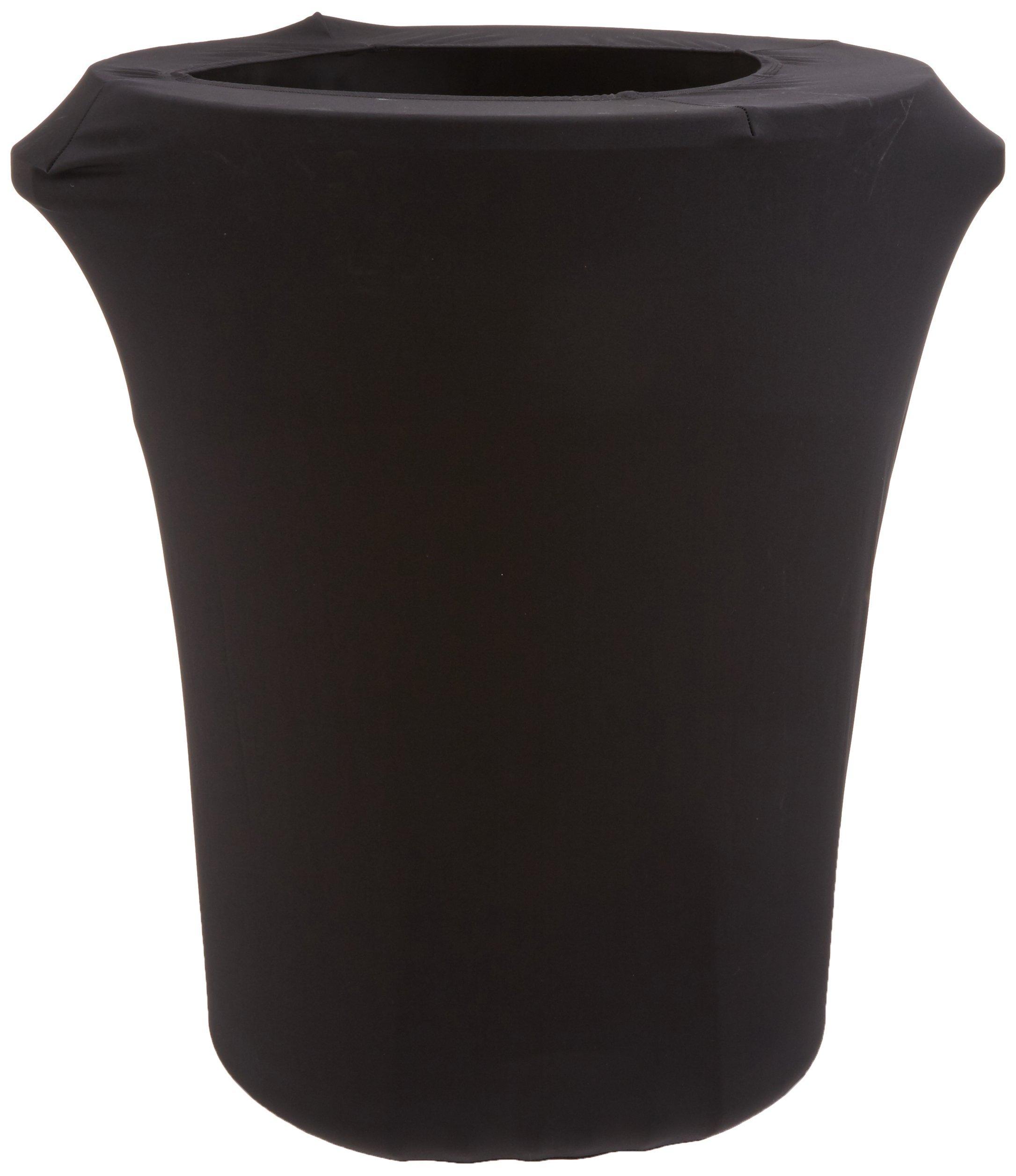 LA Linen Stretch Spandex Trash Can Cover 44-Gallon Round,Black