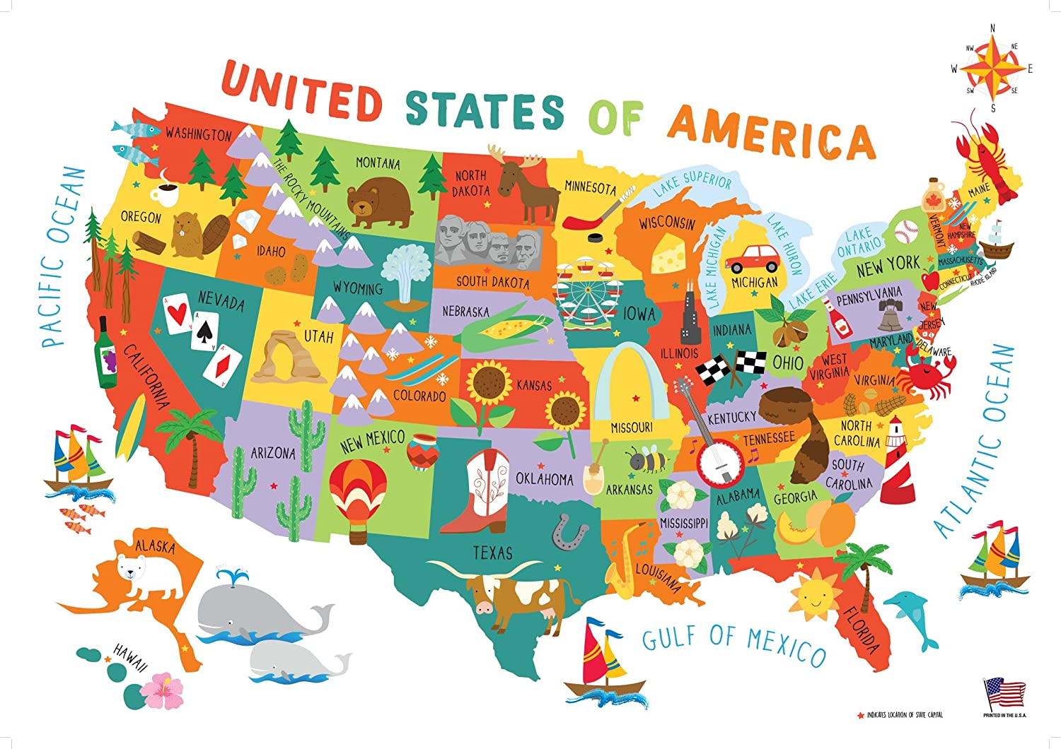 Map Of Georgia For Kids.Swiftmaps 28x40 United States Usa Us Children S Wall Map Mural Poster Laminated For Kids