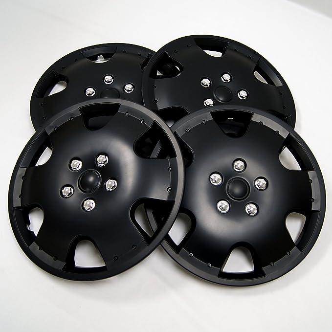 tuningpros wsc-720b16 Tapacubos rueda piel, 40,6 cm de mate negro juego de 4: Amazon.es: Coche y moto