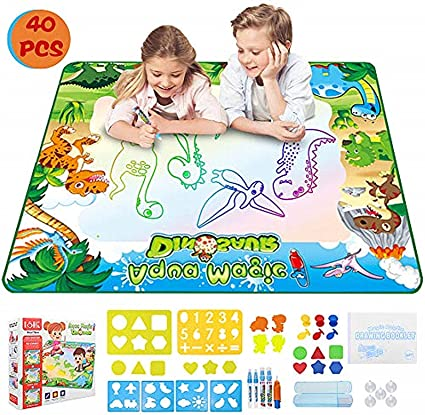 Amazon Com Ordenado Large Aqua Magic Doodle Drawing Mat 35 530 7 Inche Water Writing Mat Neon Colors Board With Painting Accessories For Kids Toddlers Educational Toys For Girls Boys Toys Games