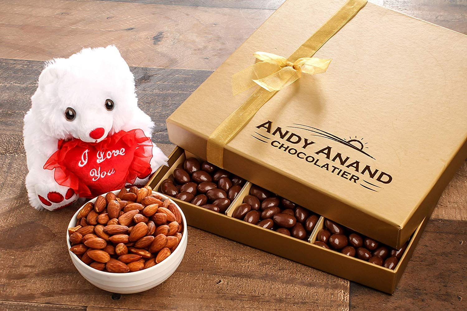 Andy Anand's Chocolate covered Almonds & I love You Teddy Bear in Gift Basket 1 lbs, Birthday, Valentine Day, Gourmet Christmas Holiday Food Gifts, Thanksgiving Halloween, Mothers day, Get Well Basket