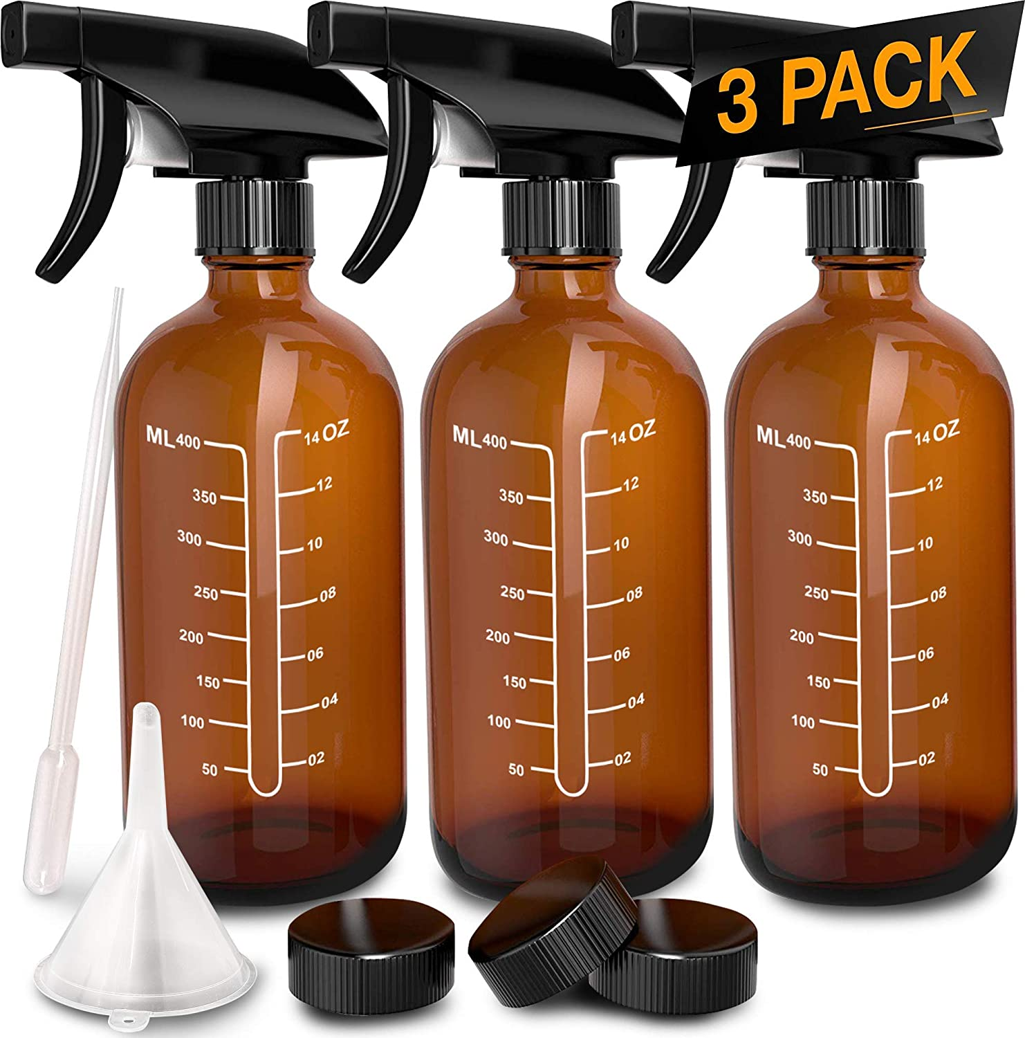3 Pack - Refillable Empty Amber Glass Spray Bottles [Free Phenolic Cap, Pipette and Funnel] for Cleaning Solutions, Hair, Essential Oils, Plants - Trigger Sprayer with Mist and Single Mode (16 OZ)