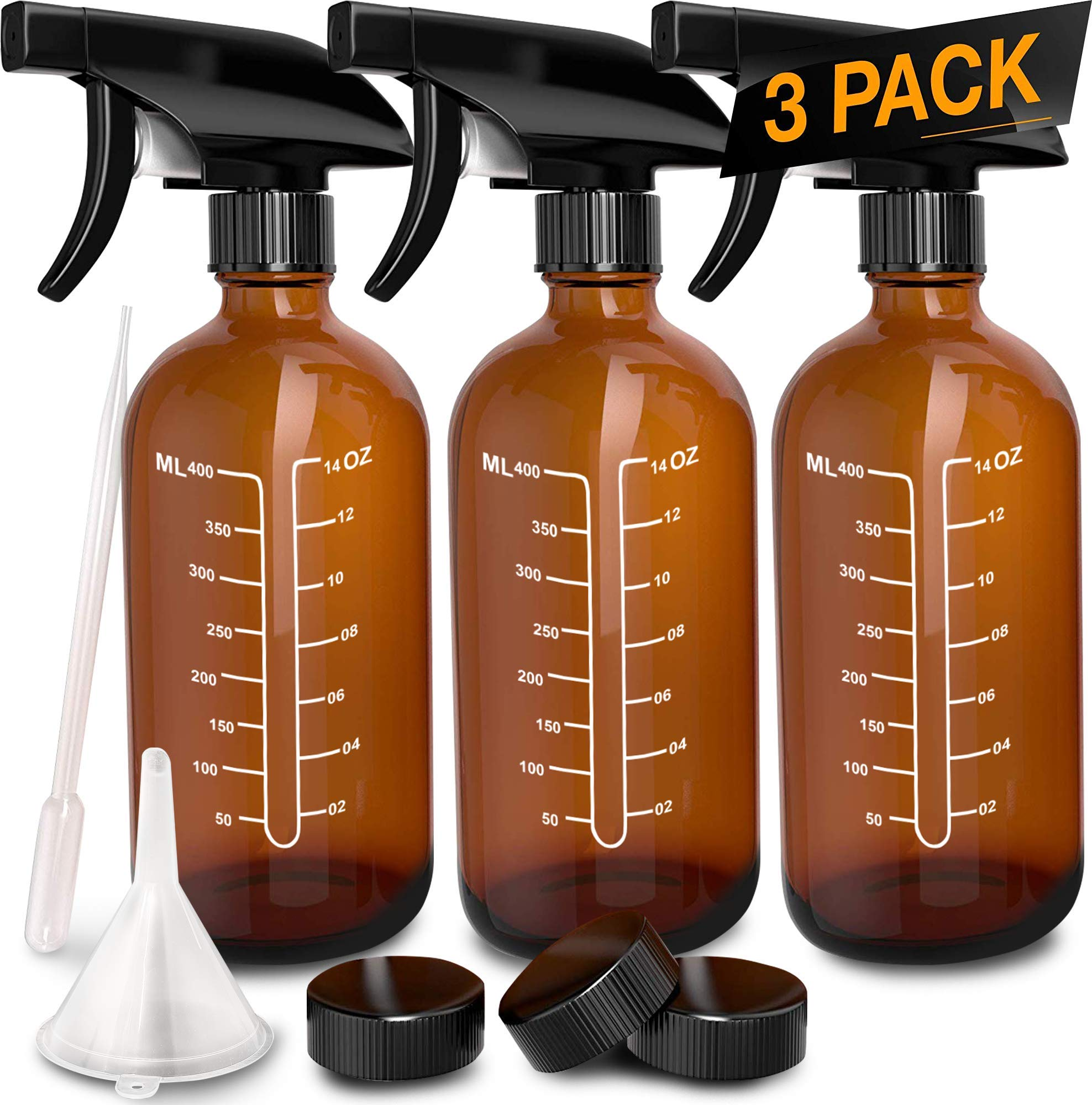 3 Pack - Refillable Empty Amber Glass Spray Bottles [Free Phenolic Cap, Pipette and Funnel] for Cleaning Solutions, Hair, Essential Oils, Plants - Trigger Sprayer with Mist and Single Mode (16 OZ) by Nylea