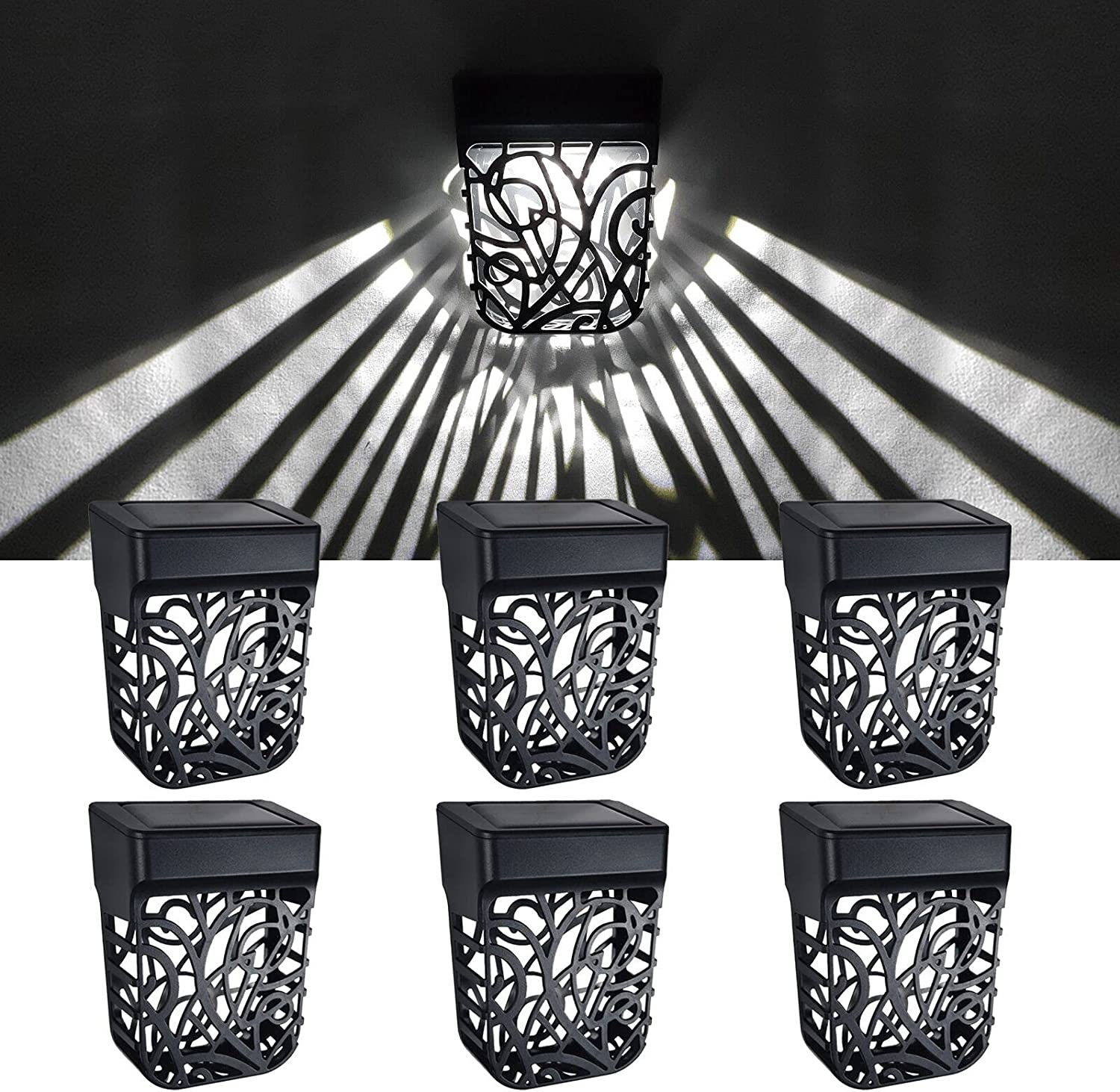 LiyuanQ Solar Fence Lights Solar Fence Lights Outdoor Waterproof LED Waterproof Outside Decklights Outdoor Decor Outside Step Lights Garden Post Fence Deck,Patio Fenc Lighting Decoration(6 Pack White)