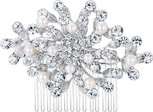 Ever Faith Damen Haarkamm Braut /österreichischen Kristall Hochzeit Blume Blatt Haarschmuck