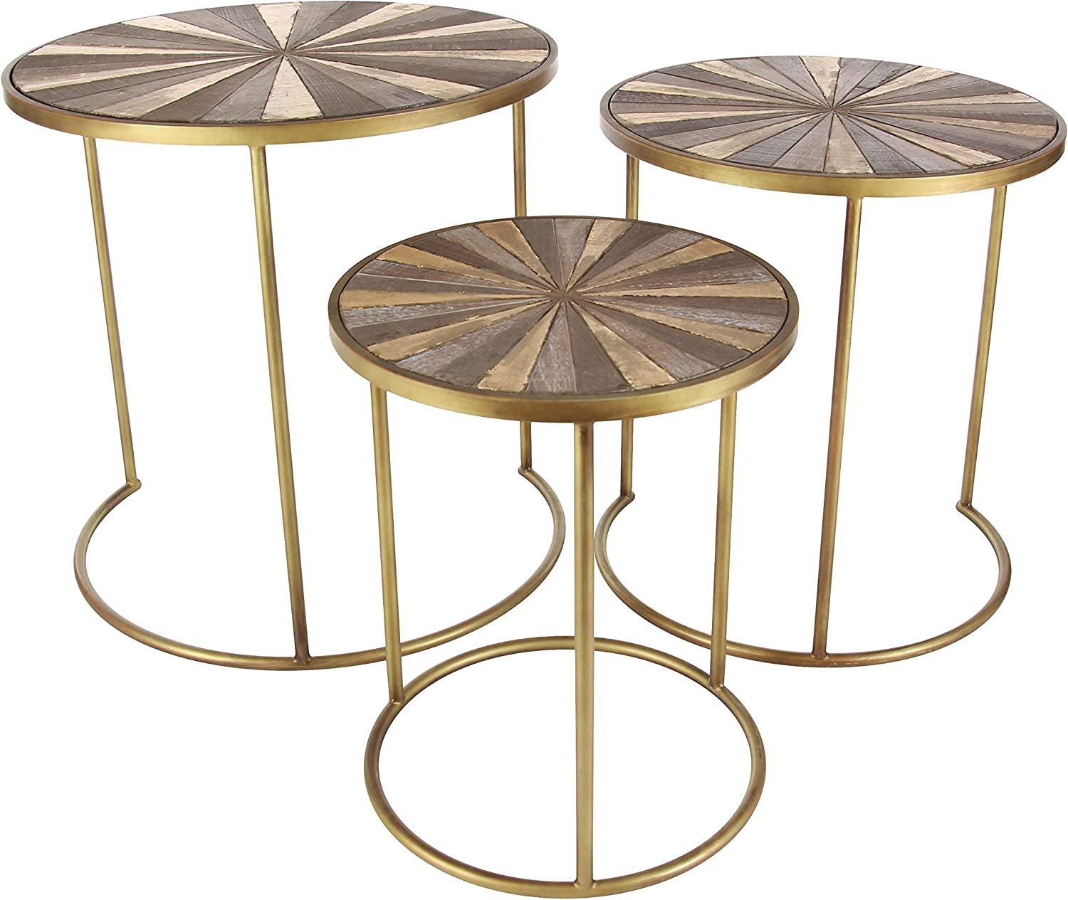 """Deco 79 19""""x 21"""" x 23"""" Metal And Wood Accent Table (Set Of 3), 19"""" x 21"""" x 23"""", Light Dark Brown/Gold: Furniture & Decor"""