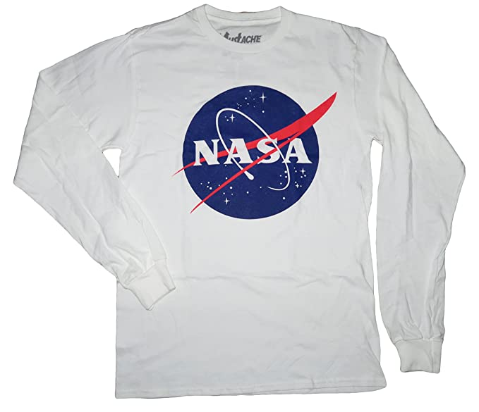d51d10ff NASA Logo Designs Adult's Size Fashion Shirts (Small, NASA Long Sleeve  (White)