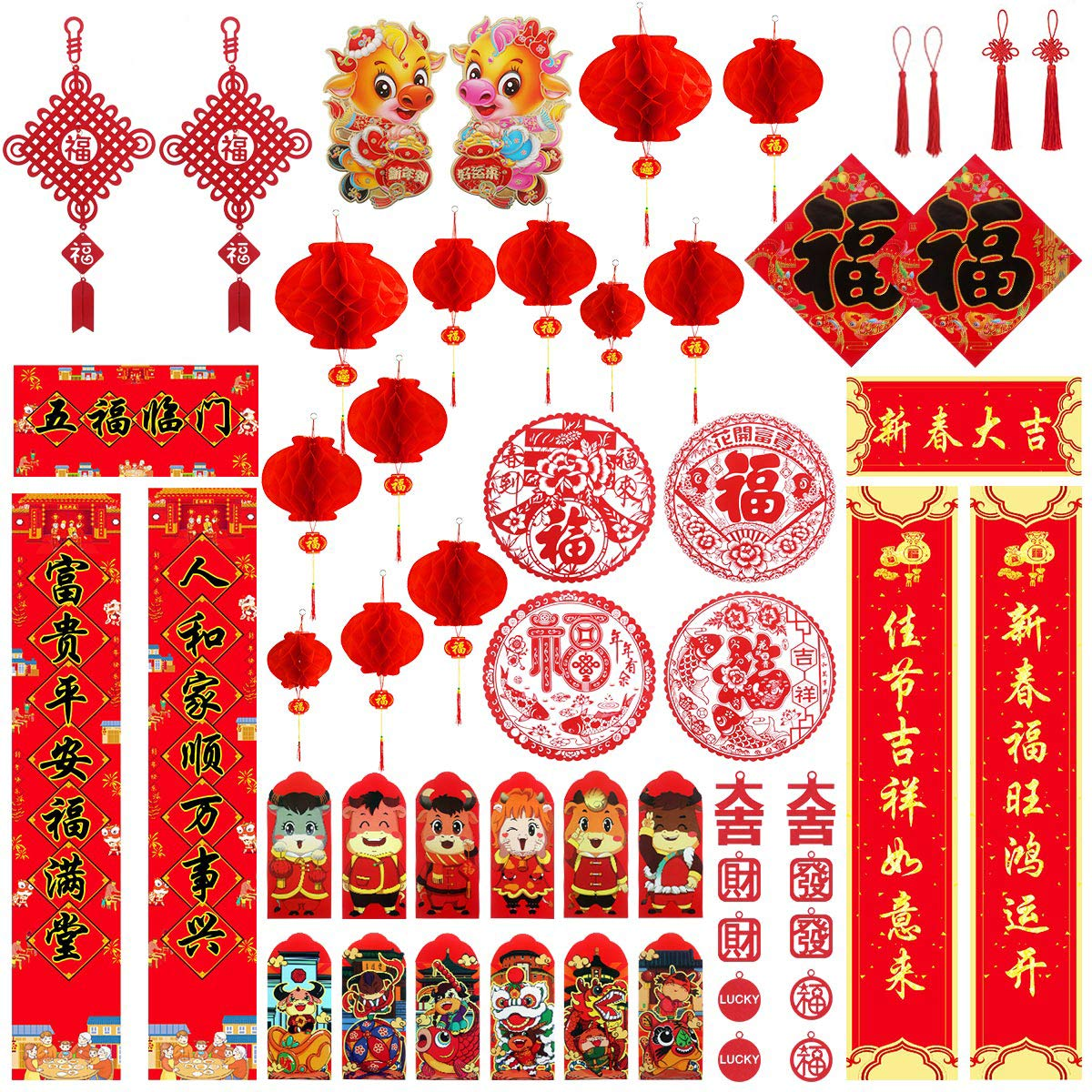 58PCS Chinese New Year Decoration, Chinese Couplets Chunlian Paper Red Lantern Ox Red Envelopes Hong Bao Chinese Fu Character Paper Window Ornaments Chinese Knots for Ox Spring Festival Party Decor