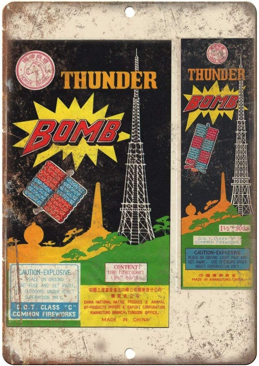 DKISEE Metal Tin Sign Wall Decor, Thunder Bomb Firecrackers Package Art Metal Sign, Funny Sign 12x18 Inch