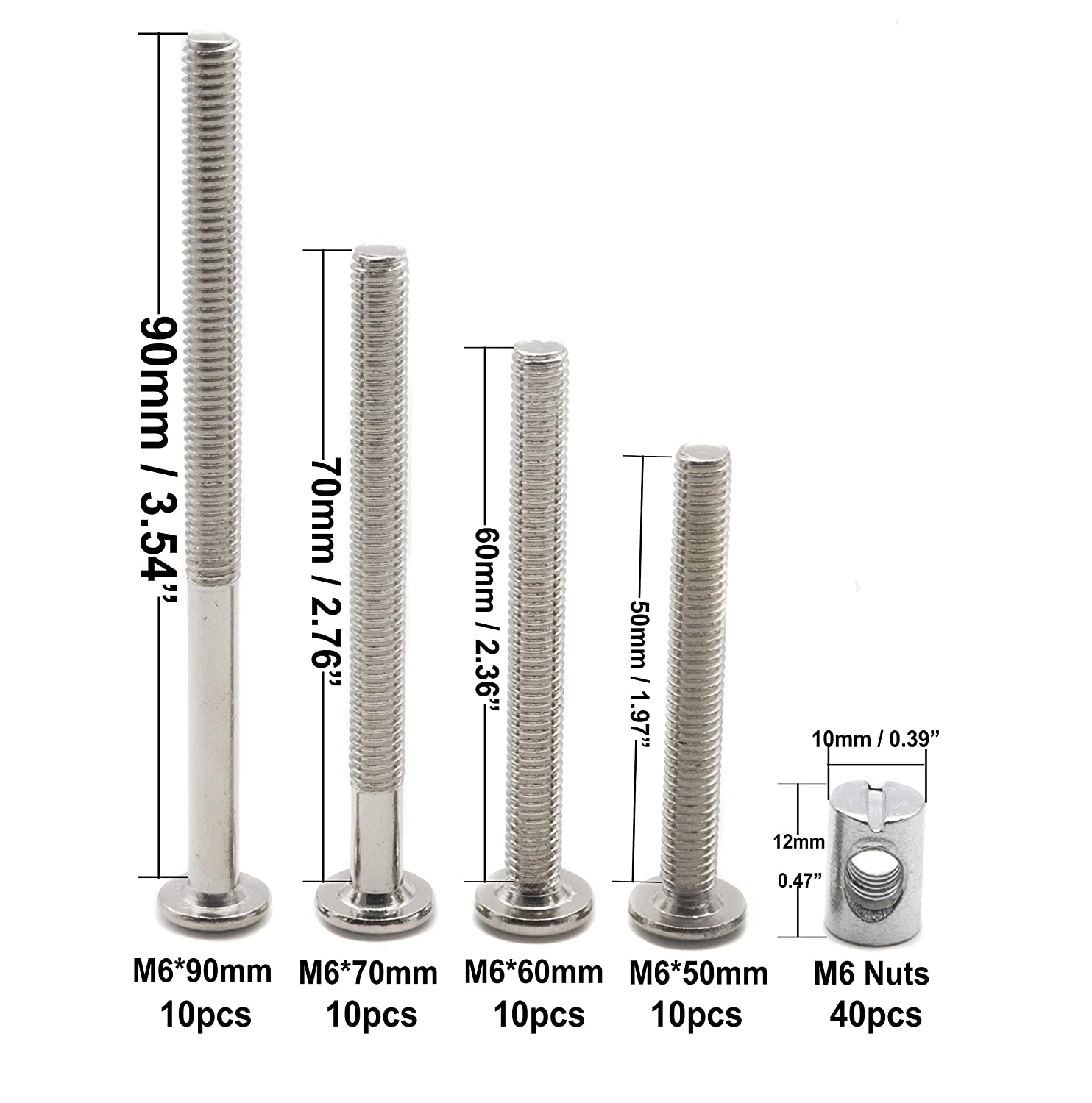 M6 Bed Crib Bolts Furniture Barrel Nuts Hardware Replacement Parts Kit binifiMux 40 Set Phillips Head M6 x 50mm//60mm//70mm//90mm Assorted Crib Bolt Barrel Nut