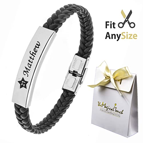 Tmt Personalised Mens Leather Bracelet For Dad Id Identity