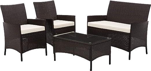 IntimaTe WM Heart Conjunto Muebles de Jardín Cafetería Sofá Exterior en Poly Ratán con Conjín, Ideal para Balcón y Terraza - Set de 2 Sillones, 1 Sofá y 1 Mesa, Marrón: Amazon.es: Jardín