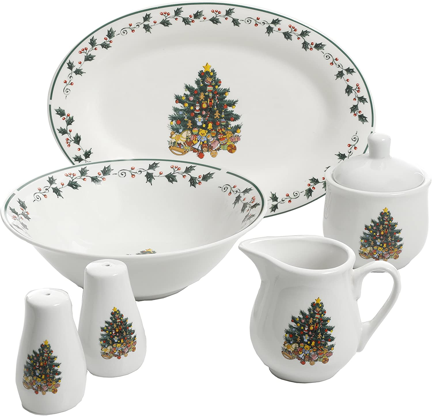 Gibson Home Christmas Tree Trimming, 7 PC Serving Set, Holiday