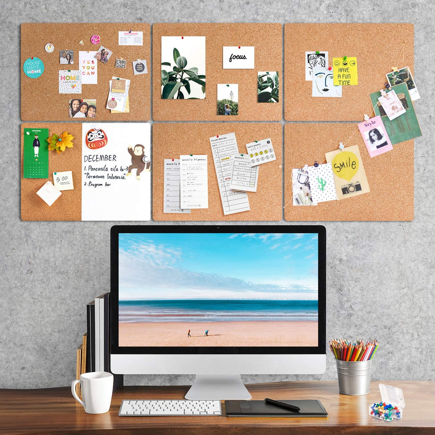 Home Decoration Message Memo Pin Boards DIY Tea Cup Whaline 8 Pack Square Cork Board Cork Tile Boards Small Bulletin Boards with 50 Pins Natural Notice Tiles for Office