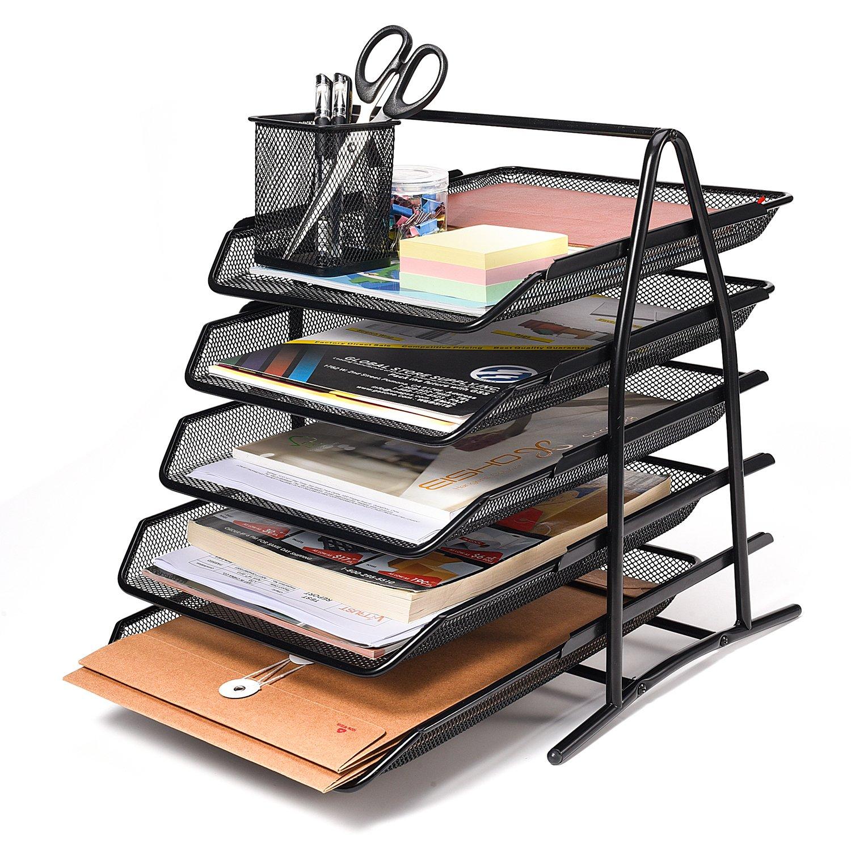 Acko 5 Tier Mesh File Organizer Office Desk Organizer Document Letter Tray Organizer,Black