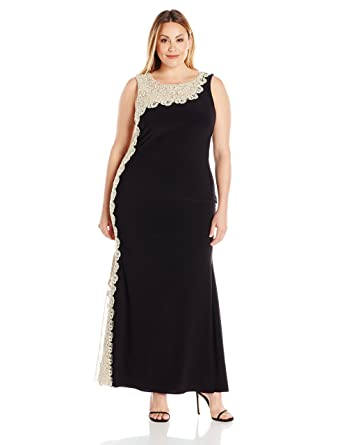 f0ac2e83 Xscape Women's Plus-Size Long Ity with Chemical Lace Side Back, Black/Gold,  14W at Amazon Women's Clothing store: