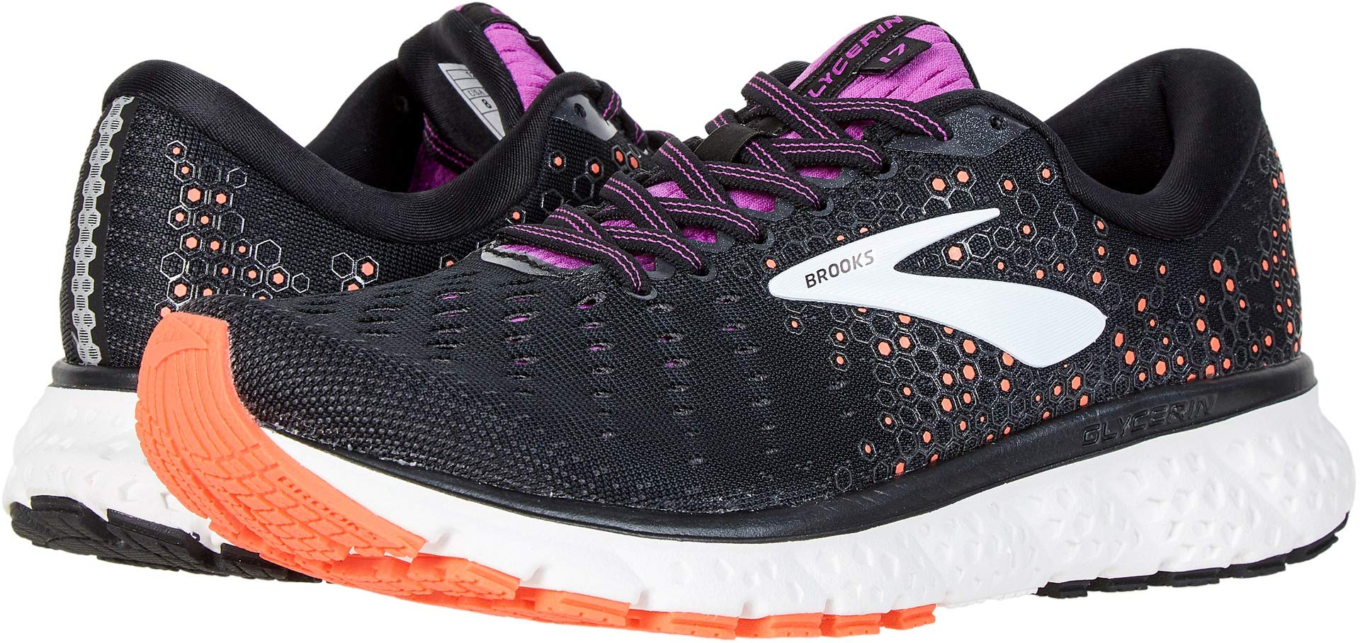 Brooks Women's Glycerin 17 Black/Fiery Coral/Purple 8 Wide US by Brooks