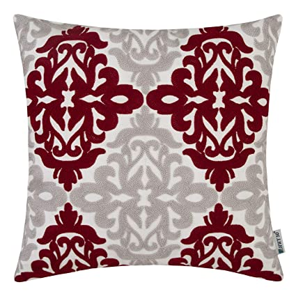 Sensational Hwy 50 Burgundy Decorative Embroidered Throw Pillows Covers Cushion Cases For Couch Sofa Bed Wine Red Grey Accent Geometric Floral 18X18 Inch 1 Piece Creativecarmelina Interior Chair Design Creativecarmelinacom