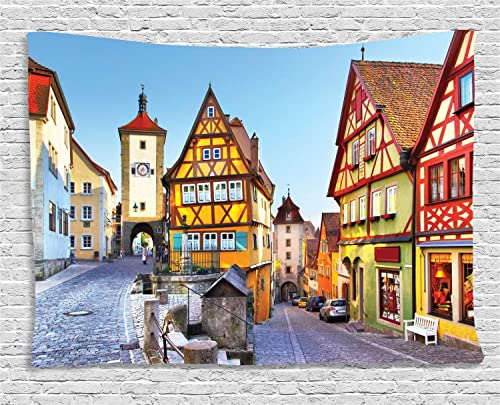 Ambesonne German Tapestry, Rothenburg ob der Tauber Bavaria Germany Famous Street with Colorful Classic Houses, Wide Wall Hanging for Bedroom Living Room Dorm, 80 X 60 , Taupe Red