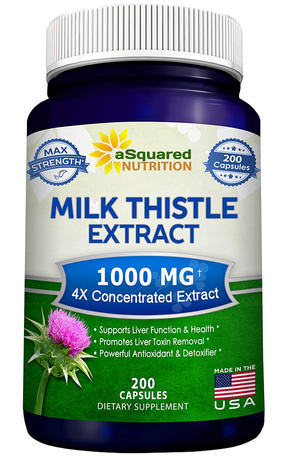 Pure Milk Thistle Supplement 1000mg – 200 Capsules, Max Strength 4X Concentrated Extract 4 1 Milk Thistle Seed Powder Herb Pills, 1000 mg Silymarin Extract for Liver Support, Cleanse, Detox Health