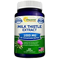 Pure Milk Thistle Supplement 1000mg - 200 Capsules, Max Strength 4X Concentrated...