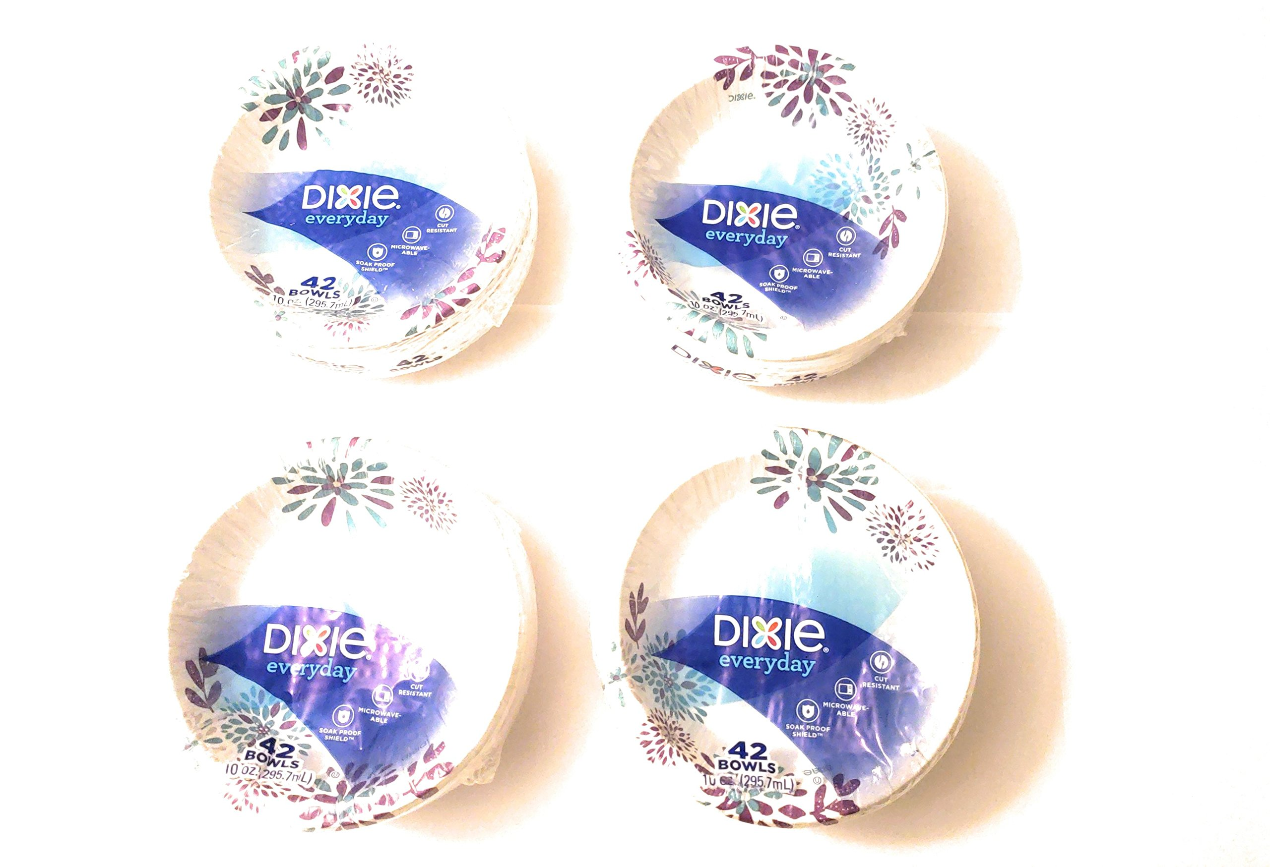 Dixie Everyday Disposable Paper Bowls, 10 oz, 168 Count, 4 packs of 42 bowls
