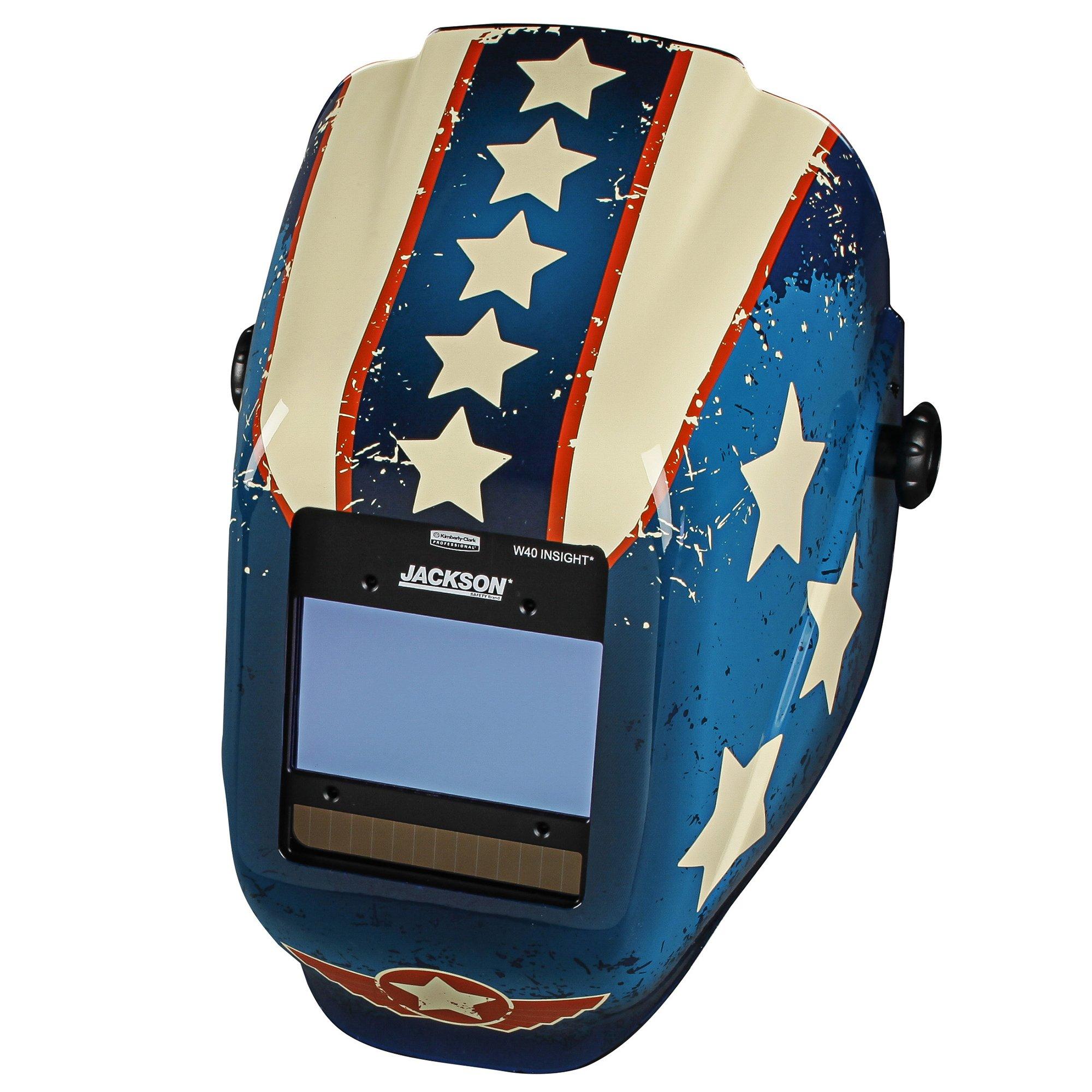 Jackson Safety Insight Variable Auto Darkening Welding Helmet (46101), HLX, 370 Comfortable Headgear, Ultra-Light Shell, Stars & Scars, 1 Helmet by Jackson Safety (Image #5)