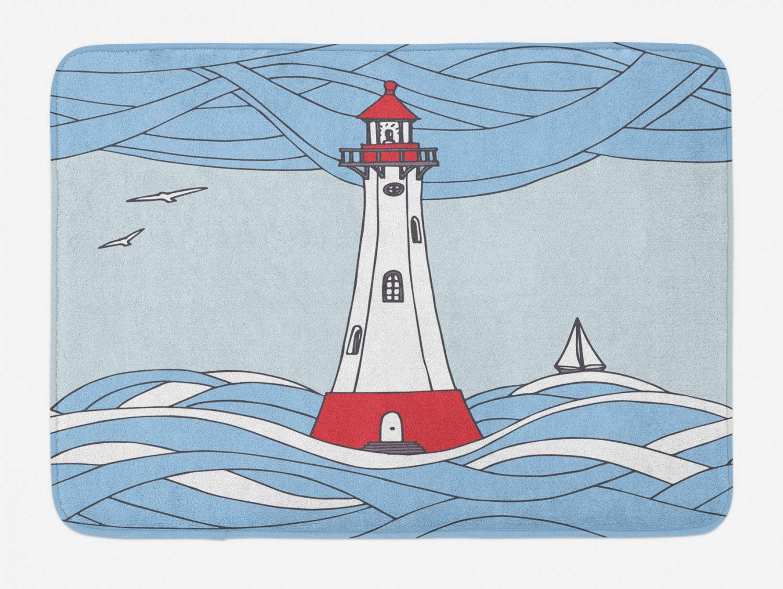 FancyPRINT Alfombrilla de baño náutica Azul, gráficos de Dibujos Animados de una Torre de vigilancia Entre Olas con un Bote de Vela y pájaros, Alfombrilla de baño de Felpa con Respaldo Antideslizante